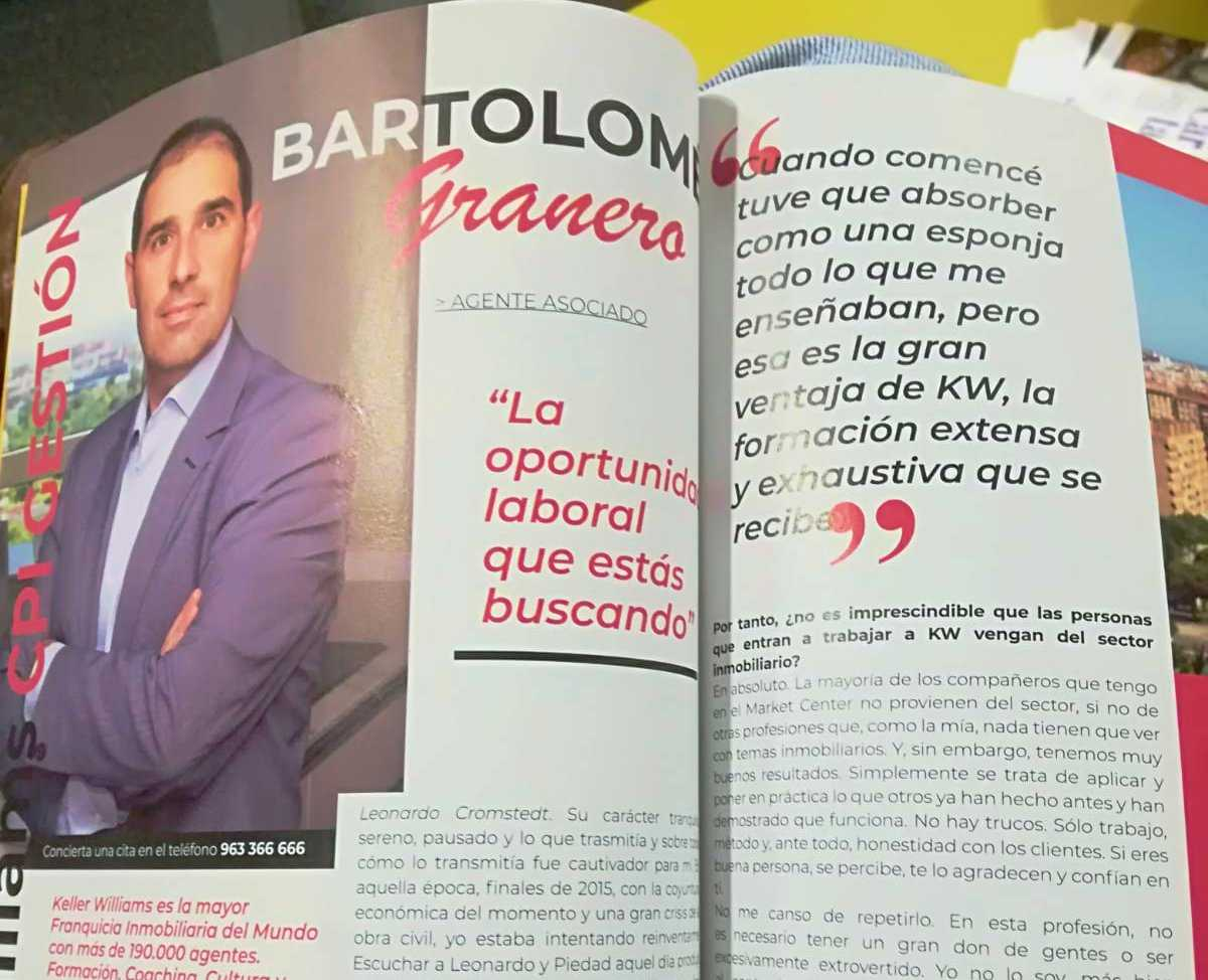 Entrevista Agente inmobiliario Bartolomé Granero en Revista HELLO VALENCIA